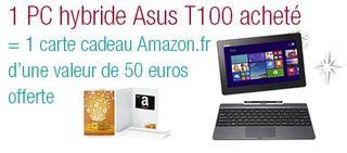 pc hybride Asus achete 50 euros Amazon gratuits