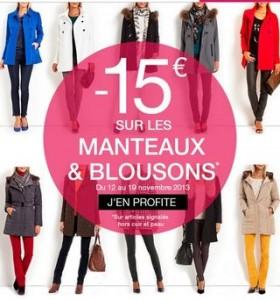 promo GDM 15 euros sur les manteaux