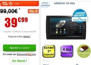 Moins de 40 euros la tablette 7 pouces ARNOVA 7G 4Go (livraison gratuite)