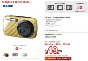vente flash Appareil photo dore Casio EX-N10