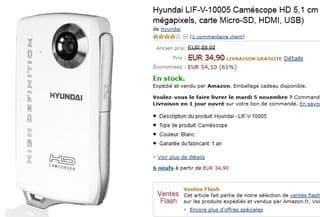 vente flash camescope Hyundai 35 euros