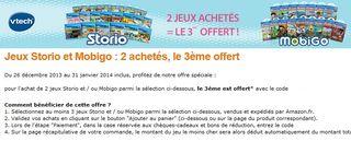 1 jeu Storio Mobigo gratuit ODR : 10 euros remboursés sur Storio 2 et Storio 2 baby de Vtech