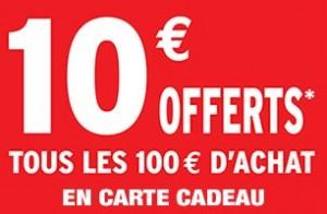 Darty 10 euros offerts en carte cadeau tous les 100 euros d'achat