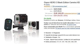 249 euros la Caméra Gopro HERO 3 Black Edition