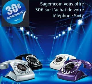 30 euros rembourses telephone sans fil Sagemcom Sixty