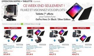 1 camera gopro hero3 achet 1 tablette android 7 39 39 offerte 327 port inclus. Black Bedroom Furniture Sets. Home Design Ideas