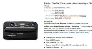 95 euros l'appareil photo 3D Fujifilm FinePix W3