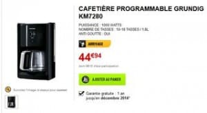 Cafetiere Grundig KM 7280  a moins de 45 euros