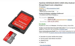 Carte memoire MicroSDXC 64 Go SanDisk pas chere