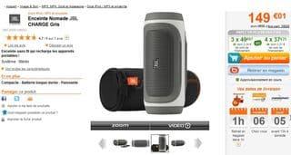 enceinte sans fil chargeur bluetooth jbl 89 euros port. Black Bedroom Furniture Sets. Home Design Ideas