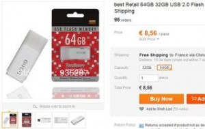 Moins de 9 euros cle USB 64Go port inclus