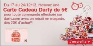 DARTY : 5 euros en carte cadeau pour 20 euros d'achats
