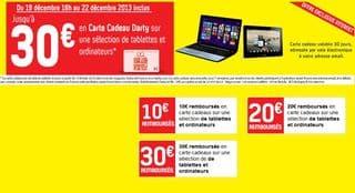 carte cadeau darty de 10 20 et 30 euros offertes sur une s lection de tablettes et ordinateur. Black Bedroom Furniture Sets. Home Design Ideas