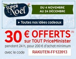 30 euros offerts pour 200 euros d'achats sur PriceMinister