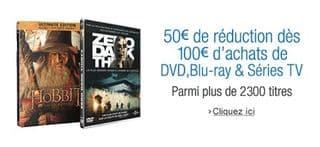 code promo DVD BluRay 50 euros pour 100 euros