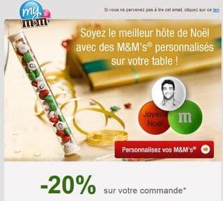 Moins 20% sur les M&M's avec photo (Spécial Noël)