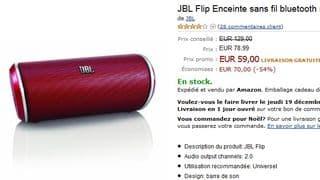 enceinte sans fil bluetooth JBL Flip à 59 euros