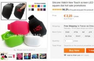 montre silicone tactile pas chere 2 euros
