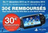 offre de remboursement PS Vita noel 2013