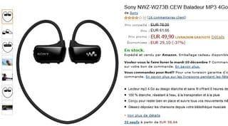 vente flash baladeur MP3 etanche Sony NWZ-W273B