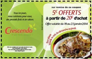 5 euros addition Crescendo COUPON