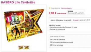 Moins de 10 euros le jeu Life Célébrités HASBRO