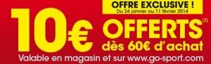 Derniere demarque Go Sport et code promo 10 euros offerts
