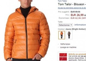 Doudoune Tom Tailor homme a moins de 27 euros