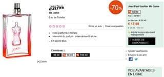 Eau de toilette Jean Paul Gaultier Ma Dame soldes