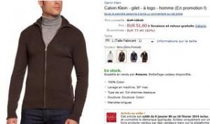 Gilet homme Calvin Klein en soldes