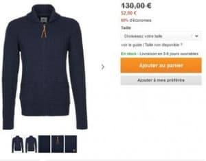 Gilet homme Lee 52 euros au lieu de 130 euros