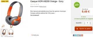 Moins de 10 euros casque Sony MDR-XB200