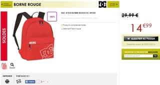 Moins de 15 euro le sac a dos DC SHOES