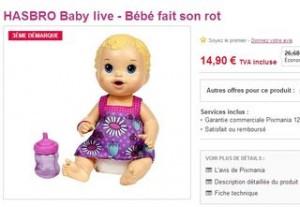 Moins de 15 euros le bebe fait son rot de HASBRO