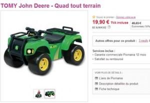 Moins de 20 euros le Quad Tout Terrain Tomy