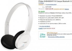 Moins de 30 euros casque Bluetooth Philips SHB4000