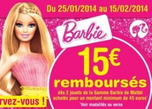 l'offre de remboursement 15 euros Barbie
