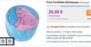 Pouf Gonflable Barbapapa moins cher