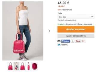 Sac à mains Adidas Originals Rose à 18 euros au lieu de 45 euros (livraison gratuite)