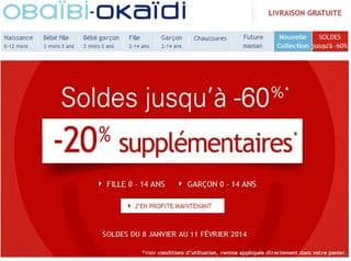 Soldes Okaidi Obaibi 20 pourcent suppl
