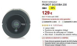 Soldes Robot laveur de sol iRobot Scooba 230 à 129 euros