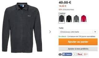 16 euro la veste polaire Reebok (port inclus) au lieu de 40 euros