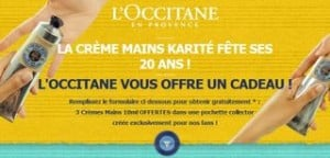 trois cr mes pour mains l occitane en provence gratuites. Black Bedroom Furniture Sets. Home Design Ideas