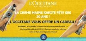 Trois crèmes pour mains L'Occitane en Provence gratuites