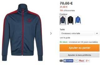 Veste de survêtement Puma à 21 euros
