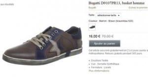 baskets Bugatti cuir a 16 euros