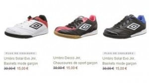 baskets Umbro garcons a 15 euros