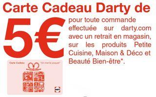 carte cadeau darty de 5 euros offerte. Black Bedroom Furniture Sets. Home Design Ideas