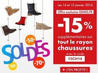 code promo Gemo remise sur les chaussures