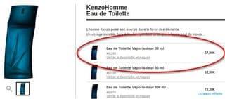 eau de toilette Kenzohomme 30ml sephora